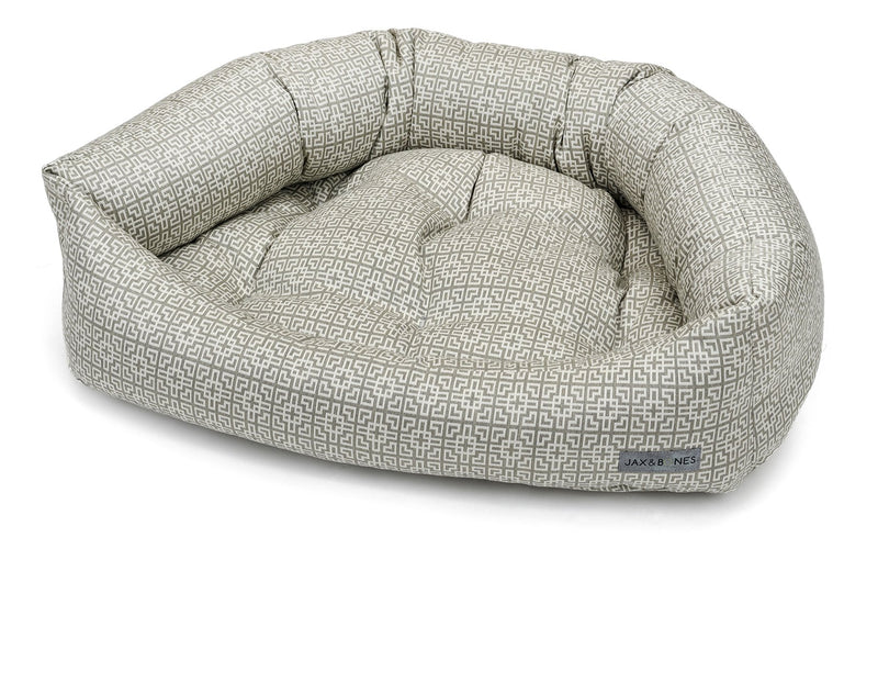 Deva Textured Woven Luxury Hypo-Allergenic Bolster Napper Heavy-Duty Designer Dog Bed