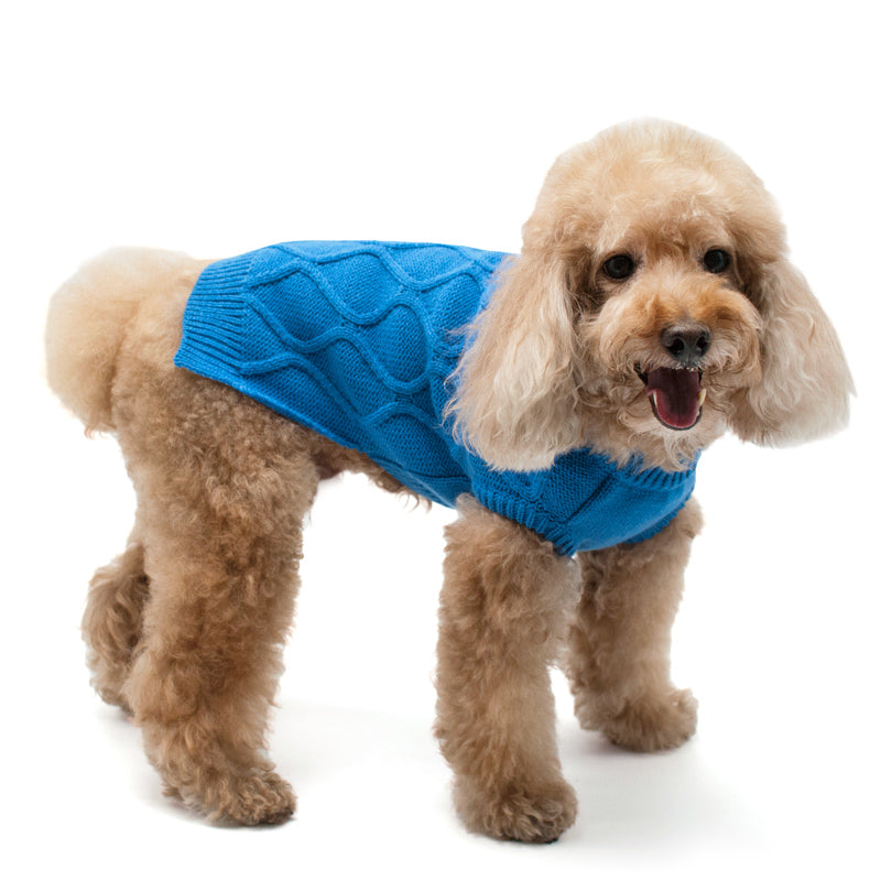 Blue Diamond Popped-Out Pattern Knitted Warm Soft Classic Designer Pet Dog Sweater