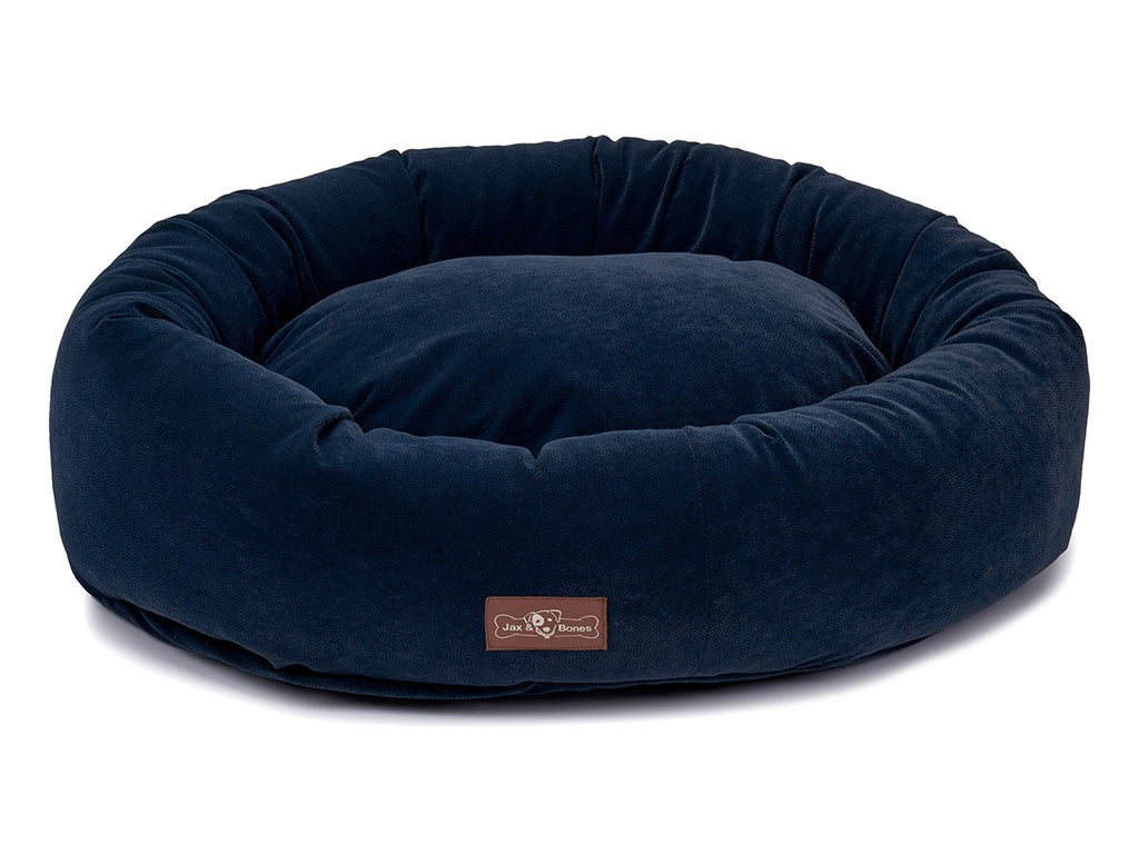Jag Navy Designer Microfiber Hypo-Allergenic Eco-Friendly Donut Dog Bed