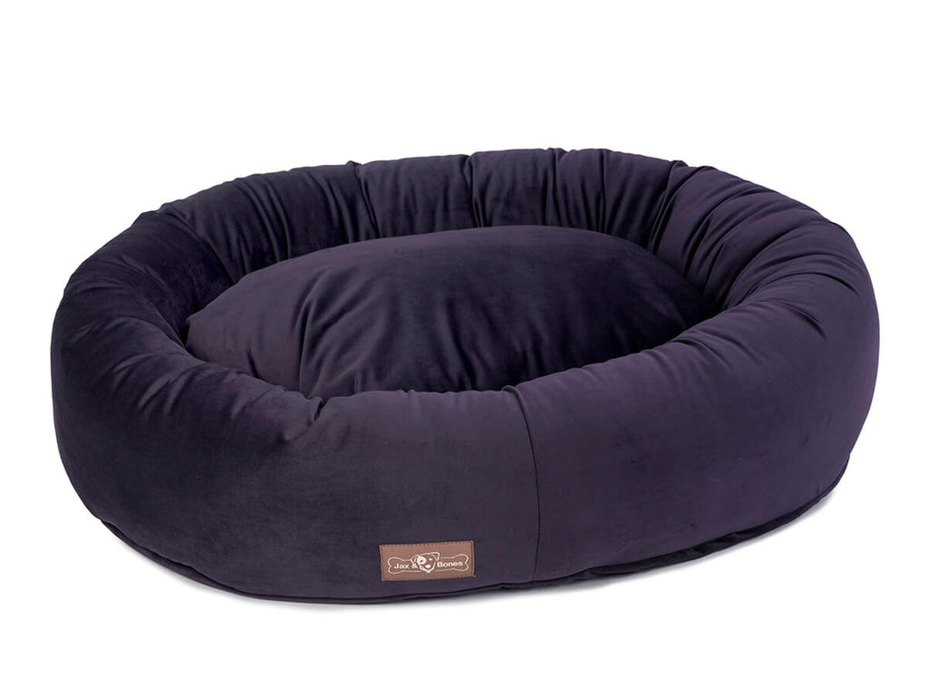 Vintage Grape Plush Velour Hypo-Allergenic Eco-Friendly Donut Dog Bed