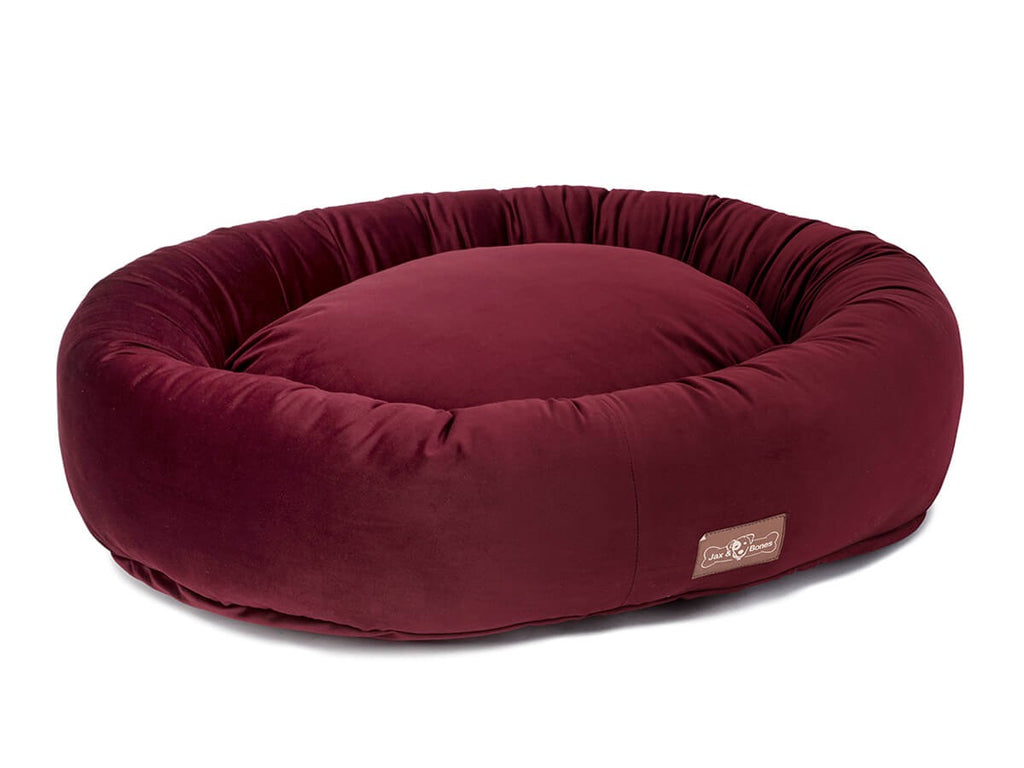 Vintage Maroon Plush Velour Hypo-Allergenic Eco-Friendly Donut Dog Bed