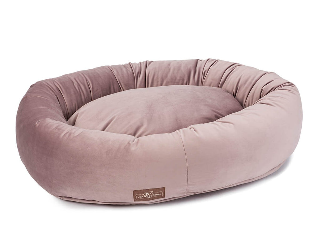 Vintage Mauve Plush Velour Hypo-Allergenic Eco-Friendly Donut Dog Bed