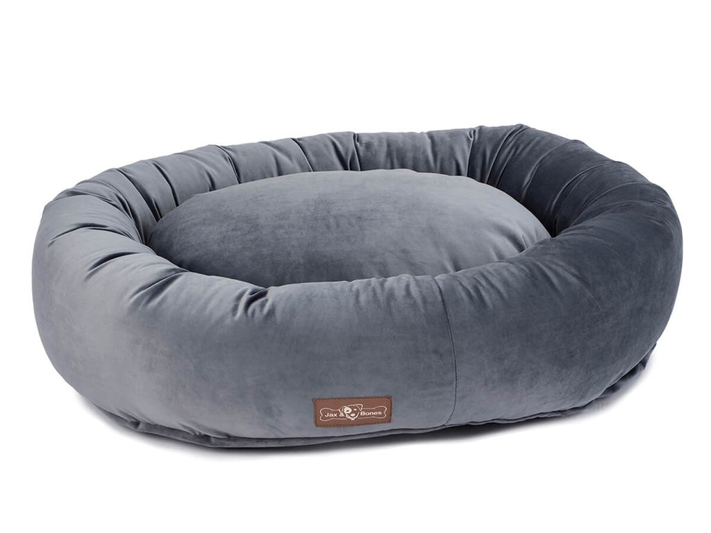 Vintage Titanium Plush Velour Hypo-Allergenic Eco-Friendly Donut Dog Bed