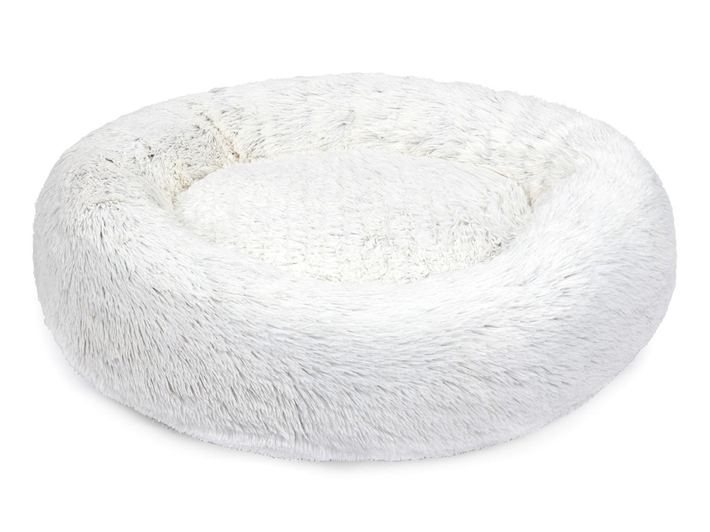 White Arctic Shag Designer Hypo-Allergenic Fill Eco-Friendly Donut Dog Bed