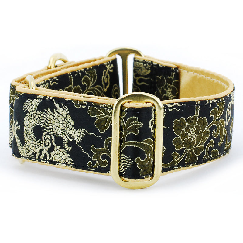 Dragon & Flowers Foliage Black Silk Brocade Designer Handmade Dog Collar