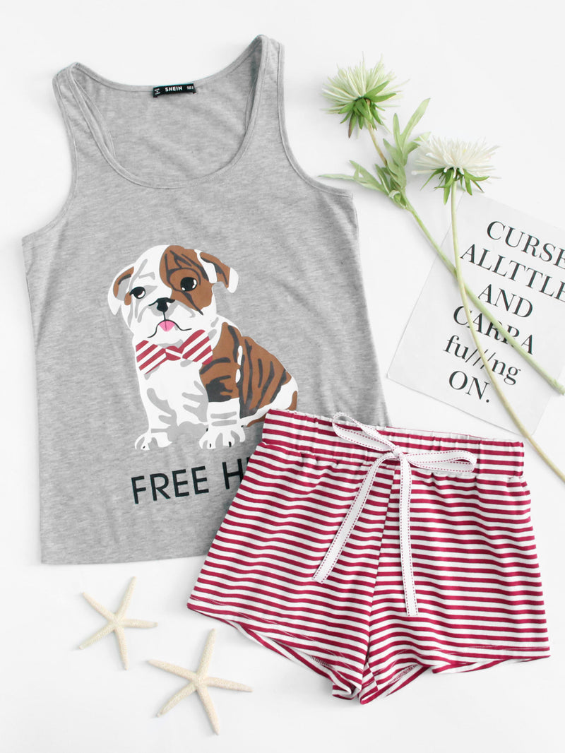Dog Print Tee And Striped Shorts Pajama Set
