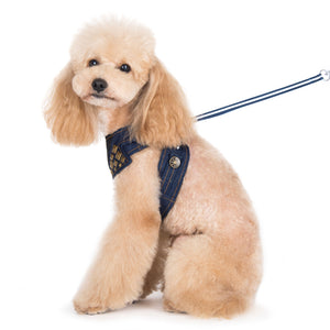 Denim Designer All-In-One EasyGO Soft Dog Harness with Matching Leash