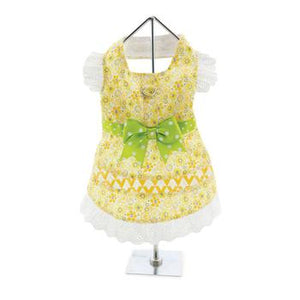 Emily Yellow Floral and Lace Southern Belle Designer Dog Dress with Matching Leash