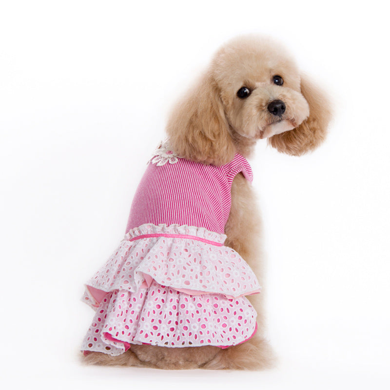 Eyelet Flower Pink Designer Dog Dress
