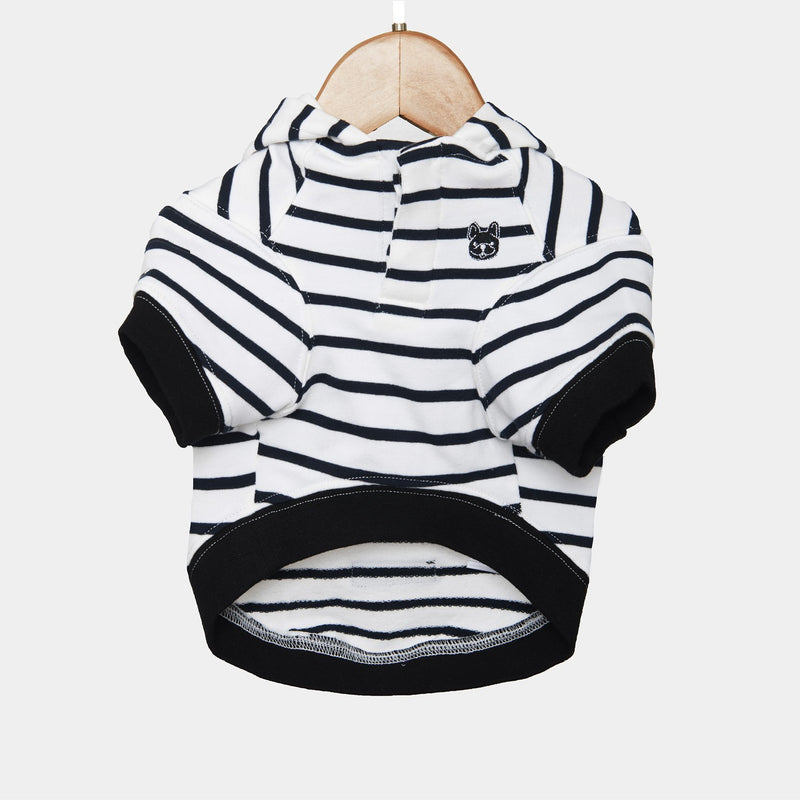 Frannie Hoodie Barkholic Organic Cotton Modern Stripes Dog Shirt