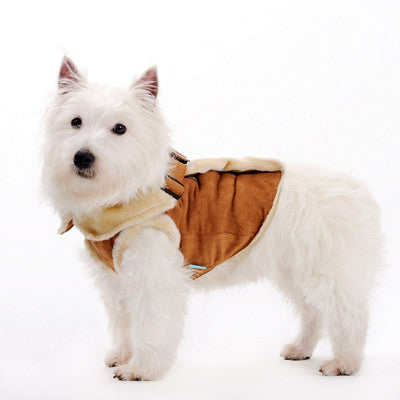 Brown Winter Vest Furry Faux Fur Sherpa Warm Designer Harness Dog Coat Harness