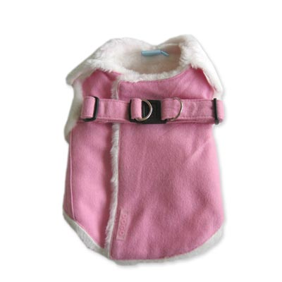 Pink Winter Furry Sherpa Faux Fur Designer Harness Warm Dog Coat Jacket