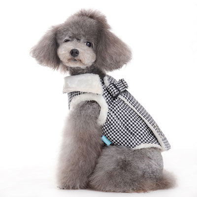 Furry Houndstooth Pattern Designer Harness Vest Warm Winter Dog Coat Jacket