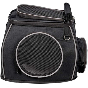 Katziela Designer Black Furry Ferry Expandable TSA Airline Approved For Small Pet Cats & Dogs Carrier Bag