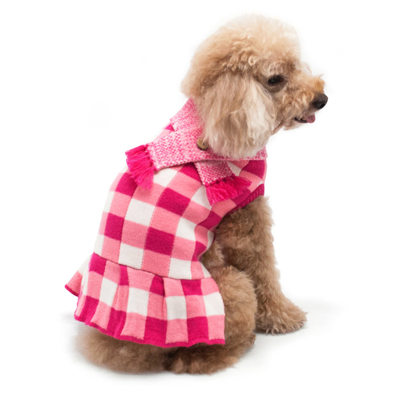 Gingham Checker Plaid Sweater Designer Dog Dress
