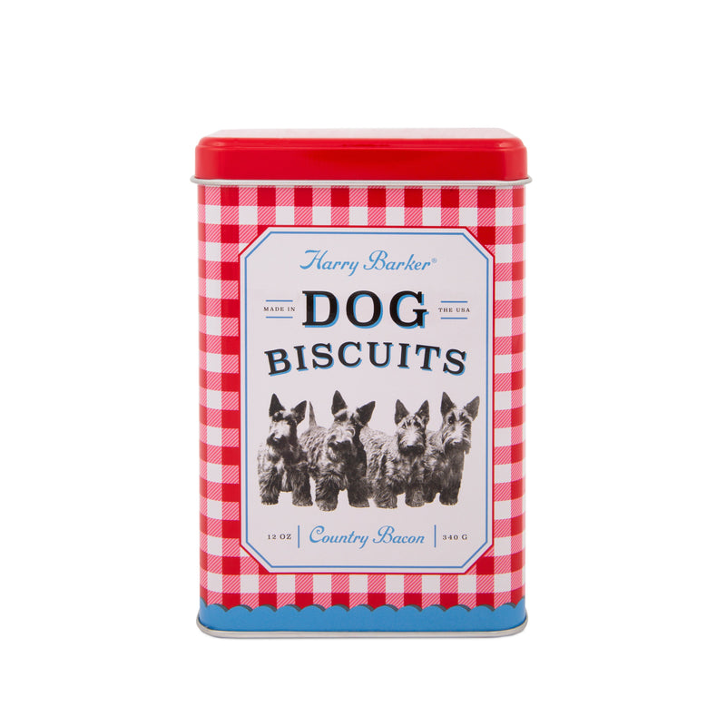 Gingham Dog Tin with Bacon Dog Biscuits