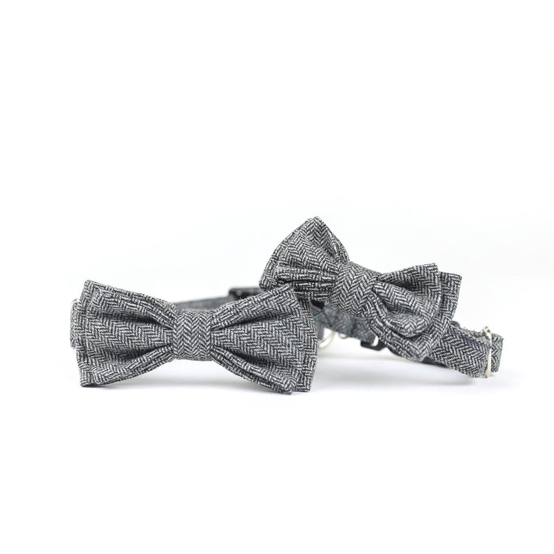 Lucas Double Bow Tie Barkholic Dark Grey Premium Modern Wool Viscose Dog Collar