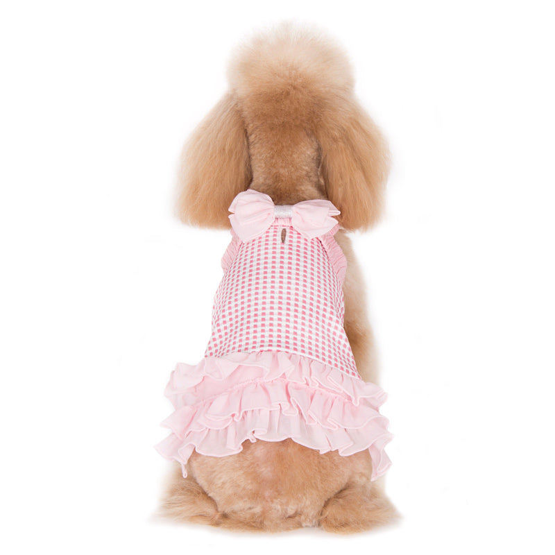 Halter Woven Pastel Pink Designer Dog Dress
