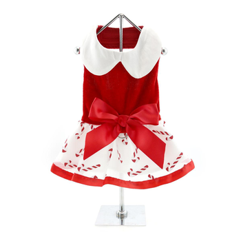 Holiday Christmas Designer Dog Dress with Matching Leash - Candy Canes