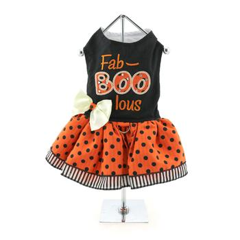 Pumpkin Style Fa-BOO-lous Fall Season Designer Dog Harness Dress and Matching Leash