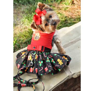 Holiday Christmas Designer Dog Dress with Matching Leash - Gingerbread Girl