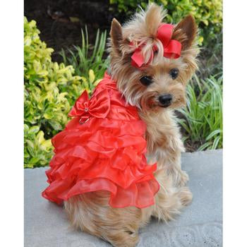 Holiday Christmas Designer Dog Dress with Matching Leash - Classic Red Satin