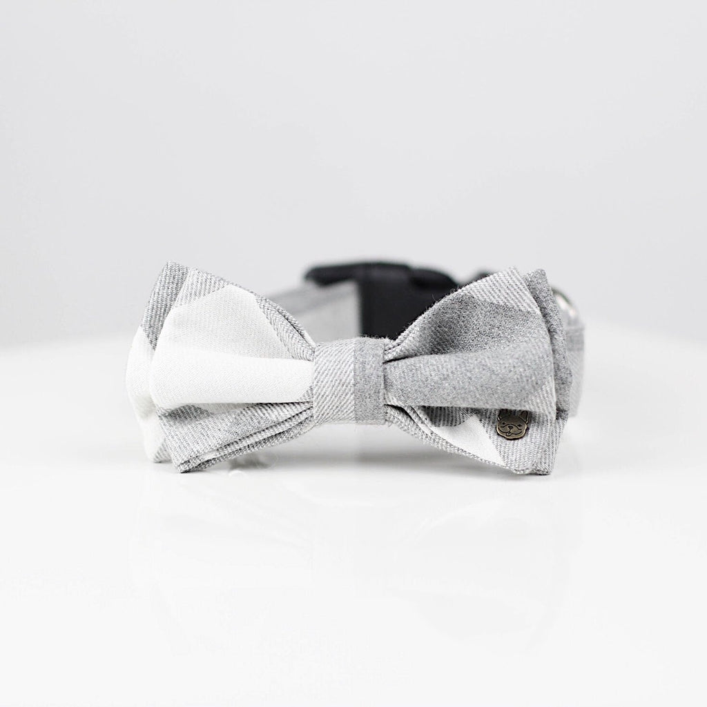 Mia Plaid Double Bow Tie Barkholic 100% Organic Cotton Light Grey Plaid Dog Collar