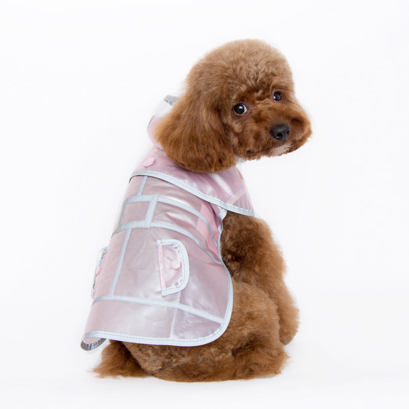 Pastel Pink Jelly Translucent Light Reflecting Waterproof Designer Active Pet Dog RainCoat
