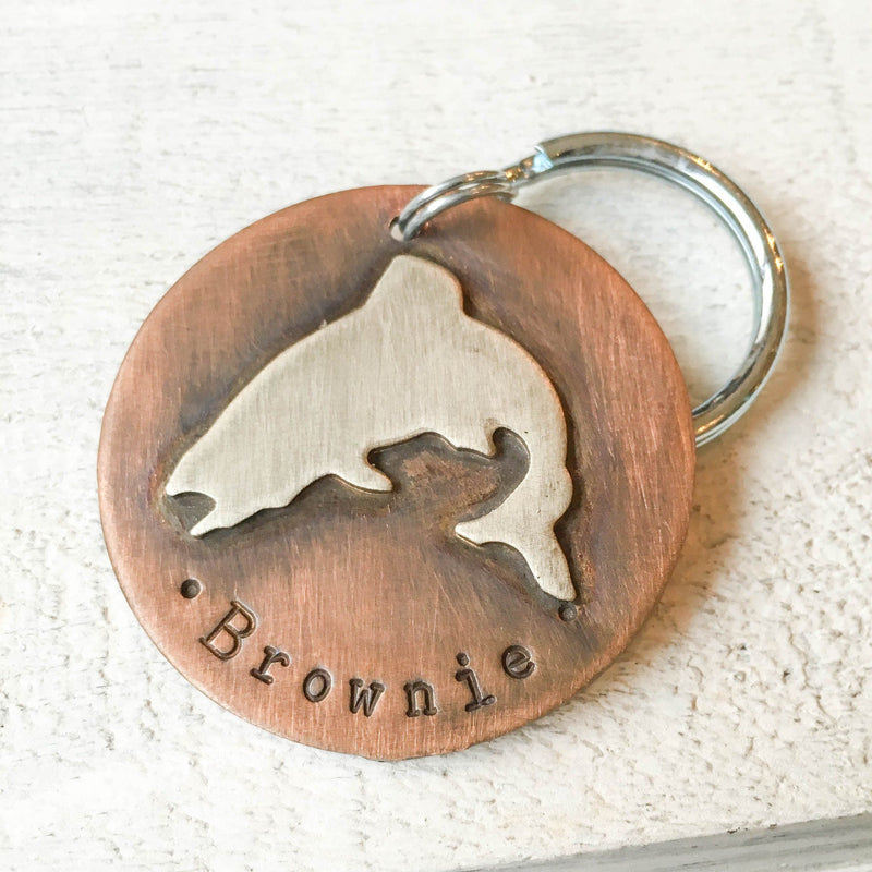 Jumping Trout Artisan Handstamped Pet Dog ID Tag (Personalize)