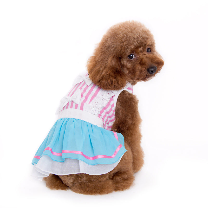 Little Alice Pink White Blue Stripes Designer Dog Dress