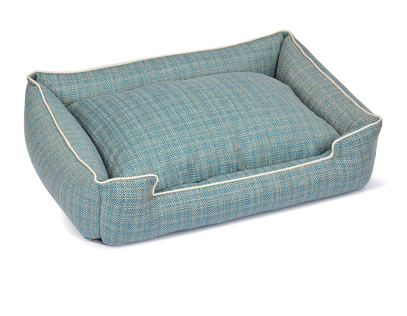 Rail Teal Textured Woven Fabric Heavy Traffic Designer Lounge Luxury Dog Bed