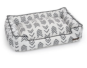 Arrow Black & White Cotton Canvas Heavy Duty USA-Made Designer Lounge Dog Bed