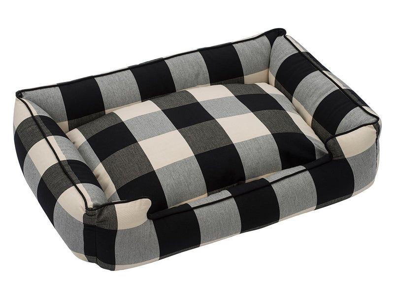 Buffalo Check Plaid Black Lounge Hypo-Allergenic USA Made Luxury Dog Bed