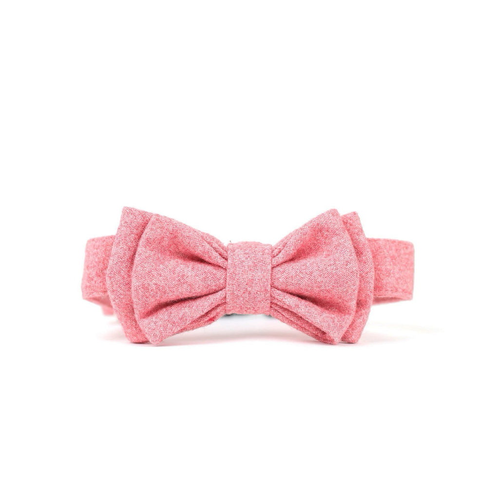 Lovers Double Bow Tie Barkholic Premium Wool Viscose Pink Dog Collar