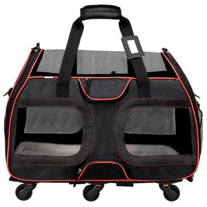 Katziela Designer Black & Red Rolling Wheels TSA Airline Approved Pet Cat & Dog Carrier Bag