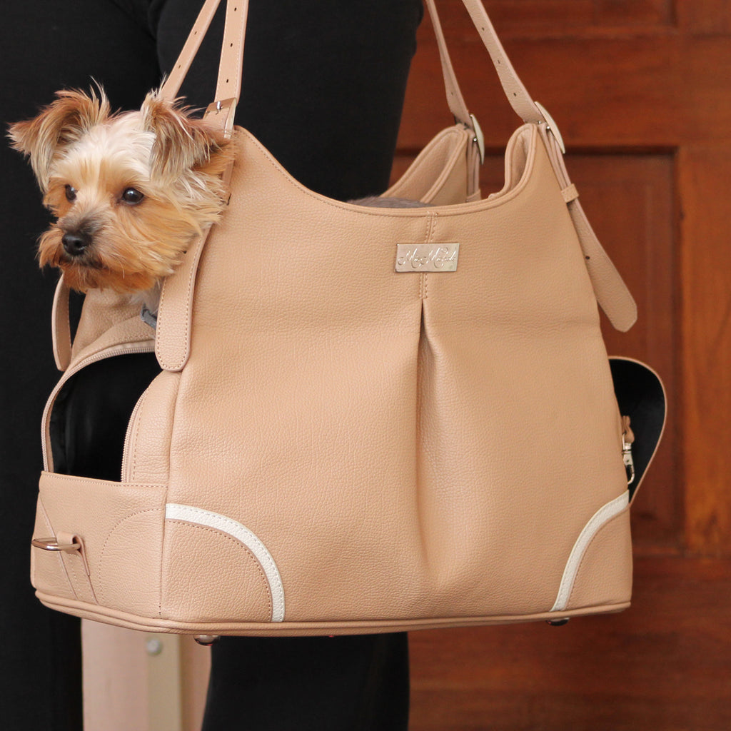 Madison Mia Michele Mocha Faux Pebble Leather Pet Dog Carrier Purse Bag