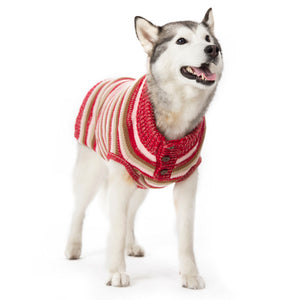 Marl Multi-Striped Adjustable Collar With Buttons Warm Pullover Designer Pet Dog Sweater