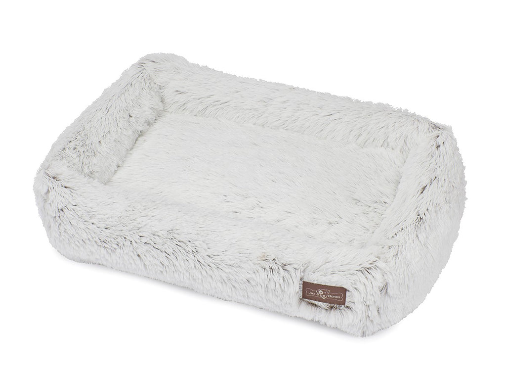 White Arctic Shag NASA-Grade Memory Foam Eco-Friendly Designer Cuddler Dog Bed