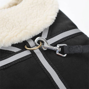 Black Military Shearling Classic Faux Suede Designer Warm Winter Harness Dog Coat Jacket