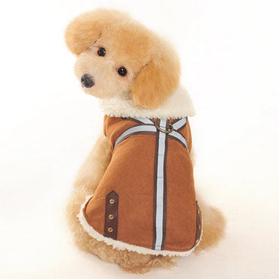 Brown Military Shearling Faux Suede Designer Warm Winter Dog Coat Jacket