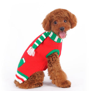 Red & Green Mitten With Scarf Christmas Holiday Inspired Warm Pullover Designer Pet Dog Sweater