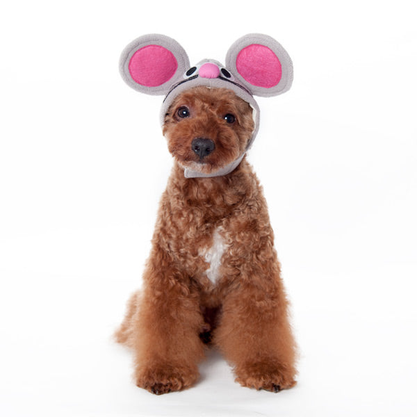 Grey Mouse Ears and Whiskers Ultra-Soft Warm Fun Halloween Designer Pet Dog Hat Costume