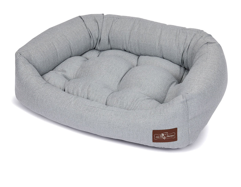 Orville Mist Textured Linen Bolster Napper Joint Support Dog Bed