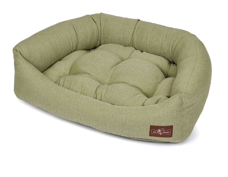 Orville Spring Textured Linen Bolster Napper Joint Support Dog Bed