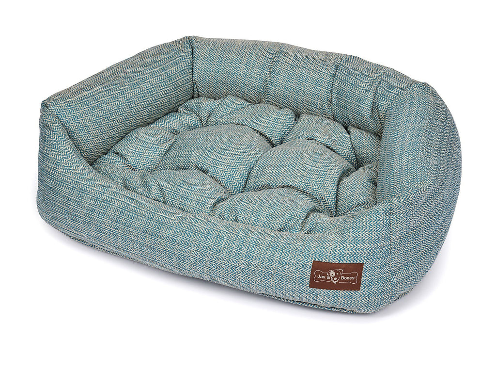 Rail Teal Textured Woven Bolster Napper Joint Support Dog Bed