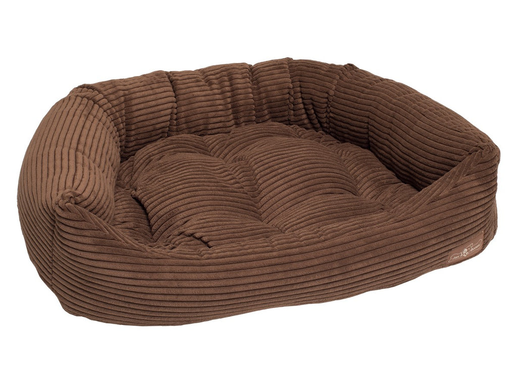 Chocolate Corduroy Hypo-Allergenic Bolster Napper Joint Support Dog Bed