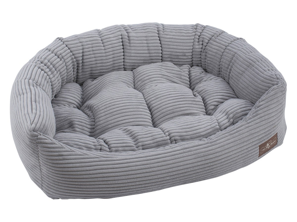 Dove Grey Corduroy Hypo-Allergenic Bolster Napper Joint Support Dog Bed