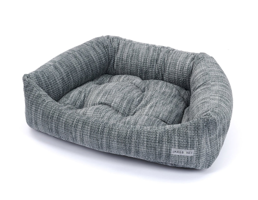 Torino Charcoal Plush Velour Luxury Bolster Napper Heavy-Duty Designer Dog Bed