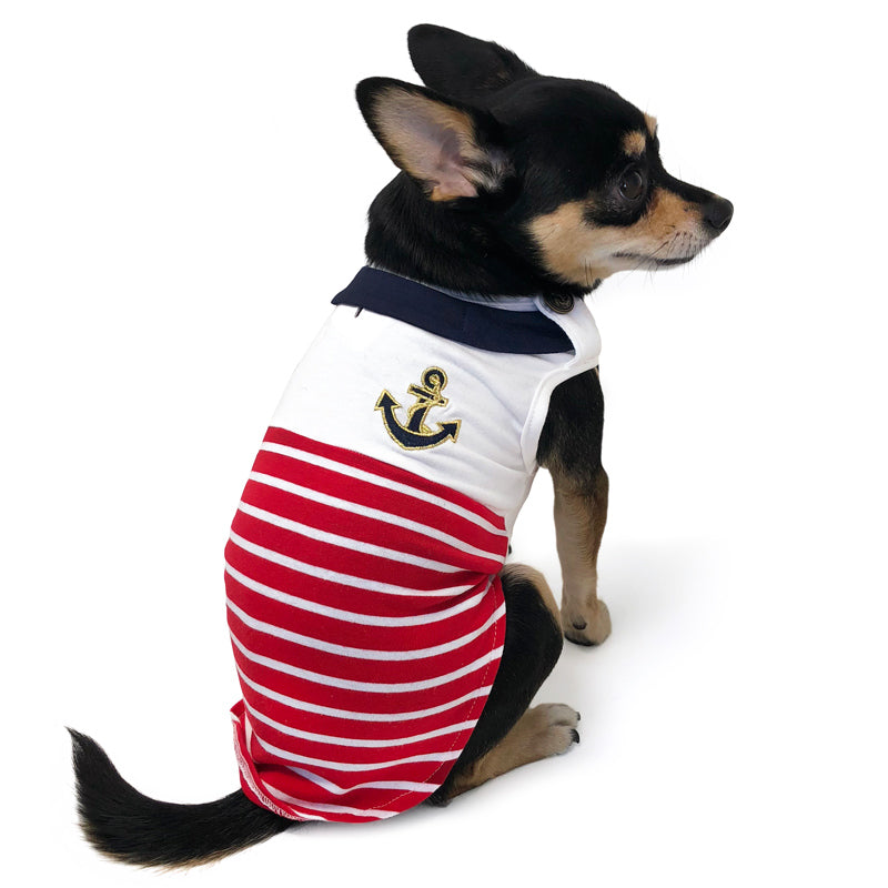 Nautical Stripes Naval Sailor Dog Tank