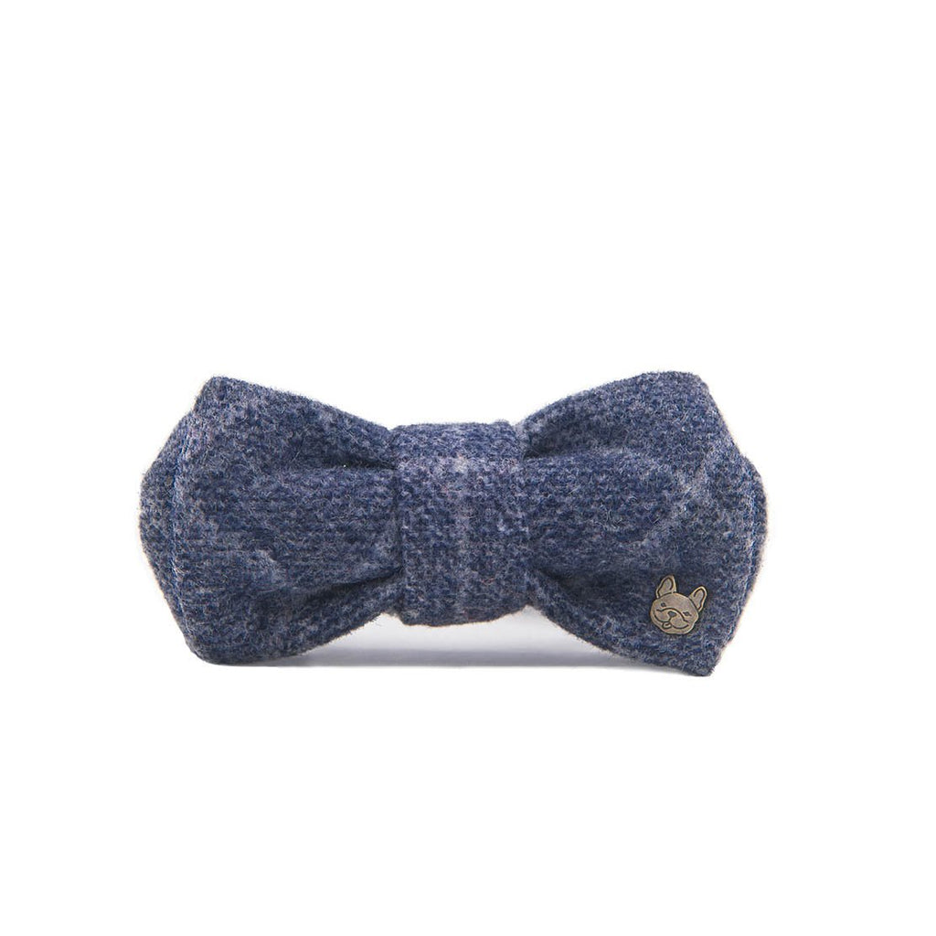Ocean Blue Plaid Double Bow Tie Collar